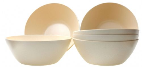 Eco-Friendly Cream coloured  Bamboo Fiber Round Bowls 400ml X6